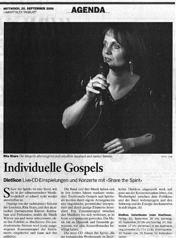 Rita Share. Presseartikel. Limmattal. Jazz, Gospel, Swing