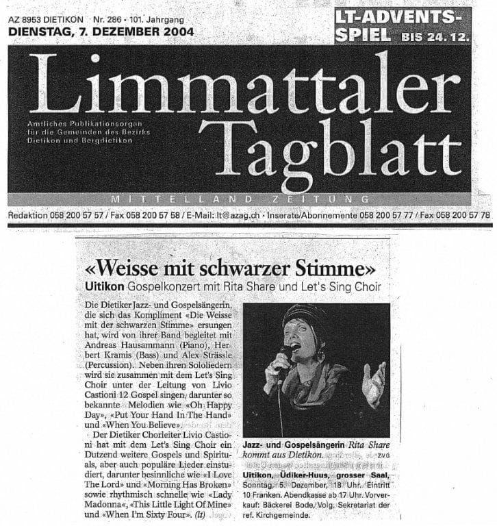 Rita Share. Presseartikel. Limmattal. Gospel- und Jazzgesang