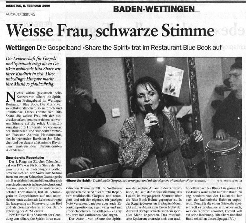 Rita Share. Medienmitteilung. Aargauer Zeitung